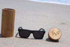 100% Natural Bamboo polarized sunglasses that float in the water. Each pair of sunglasses comes with a Bamboo case and microfiber bag.