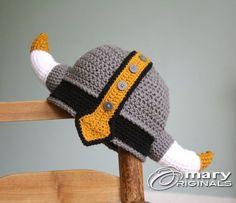 Viking Hat Viking Helmet Crochet Beanie Crochet by MaryOriginals