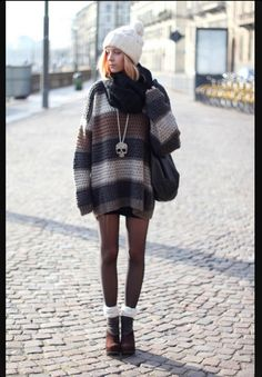 oversized sweater, tights, thick socks, boots. yes.