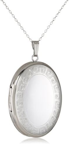 Momento Lockets Sterling Silver Oval Shaped Locket with Greek Key Border Necklace