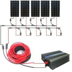 ECO-WORTHY 800W Monocrystalline On Grid Solar Panel Kit: 5pcs 160W Mono Solar Panels+1KW Grid Tie Power Inverter+Solar Cable+MC4 Branch Connectors DC HOUSE http://www.amazon.com/dp/B00IOFD9GK/ref=cm_sw_r_pi_dp_iHqxwb0V3MRKJ