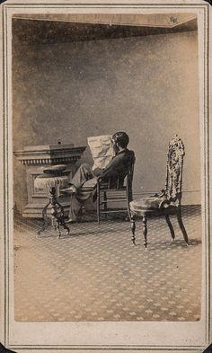 CDV Man Reading Newspaper, Abraham Bogardus Studio.   Flickr - Photo Sharing!