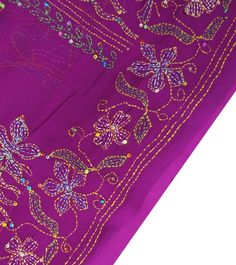 INDIAN VINTAGE CRAFT SAREE KANTHA EMBROIDERED FABRIC DÉCOR SARONG PURPLE SARI BASIC RUNNING STITCH
