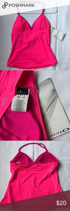"""Oakley halter swim top NWT Pink Oakley halter swim top. New with tags, never worn. Please see pics for material content. 13"""" across chest, 10"""" length from bottom of chest to hem. Oakley Swim"""