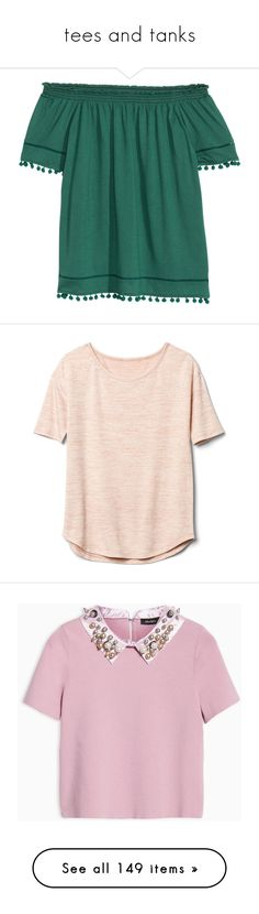 """""""tees and tanks"""" by chanceprep ❤ liked on Polyvore featuring tops, green off shoulder top, off the shoulder tops, short sleeve tops, short sleeve off the shoulder top, h&m tops, t-shirts, shirts, pink t shirt and loose t shirt"""