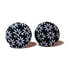 Flower Earrings, Monochrome Earrings, Button Earrings, Minimalist... (£5.40) via Polyvore featuring jewelry, earrings, blossom jewelry, summer earrings, black and white jewelry, button jewelry and button earrings