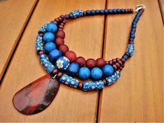Multistrand Necklace Tribal Beaded Bib African Krobo Beads