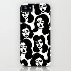 Retro Girls #iPhone Case by Bouffants and Broken Hearts - $35.00 #pattern #illustration