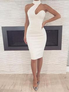 Dinner dress classy - White Cut Out Asymmetric Shoulder Halter Neck Bodycon Elegant Party Midi Dress – Dinner dress classy Elegant Dresses, Sexy Dresses, Cute Dresses, Beautiful Dresses, Evening Dresses, Casual Dresses, Short Dresses, Fashion Dresses, White Party Dresses