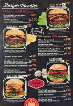 Beeves Burger & Steakhouse, Esenkent Menü Pizza Menu Design, Cafe Menu Design, Food Menu Design, Food Poster Design, Food Truck Design, Burger Toppings, Menu Burger, Gourmet Burgers, Burger Recipes