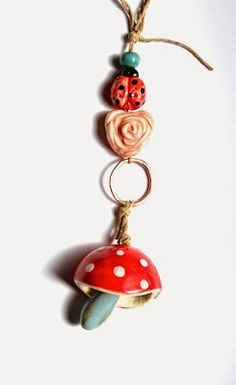 Mushroom Bell - Handmade ceramic bell pendant and bead set. Gaea Ceramic Bead and Art Studio Blog