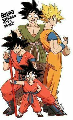 The evolution of Goku; Dragon Ball, Dragon Ball Z, and Dragon Ball Super. Dragon Ball Z, Sheng Long, Hero Fighter, Manga Anime, Anime Art, Aperture And Shutter Speed, Dragon Images, Son Goku, Illustrations