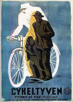 A Danish poster for BICYCLE THIEVES (Vittorio De Sica, Italy, 1948)  ArtistHervé Morvan(from the original French poster)