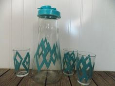 Vintage Turquoise Juice Glass Carafe with 3 Glasses by Swirling Orange Retro Mid Century