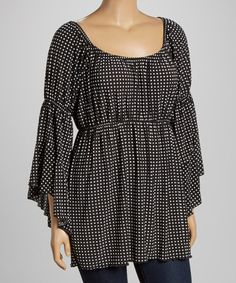 Black & White Dot Scoop Neck Top - Plus #zulily #zulilyfinds  $24.99