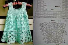 Crochet Toddler Dresses Easy Free Pattern your Purple Crochet Dress For Baby Girl, Crochet Baby Dresses Directions; Crochet Dress Girl, Crochet Baby Clothes, Crochet Girls, Crochet Blouse, Crochet For Kids, Crochet Dresses, Crochet Diagram, Crochet Chart, Knit Crochet