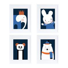 Four animals print set/ kids rooms decor/ poster/ illustration/ minimal