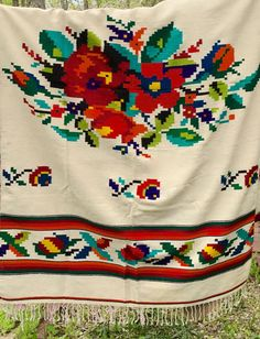 Vintage Mexican Serape Center Floral with by putnamandspeedwell