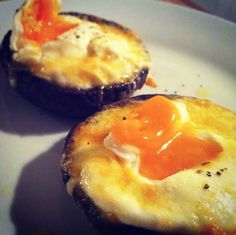 Portobello mushrooms, egg, cheese, pepper