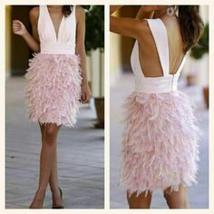 Love this dress! Vestido rosa con plumas Love this dress! Sexy Outfits, Dress Outfits, Dress Up, Fashion Outfits, Elegant Dresses, Pretty Dresses, Short Dresses, Formal Dresses, Prom Dresses
