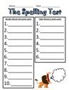 Spelling Test Printable