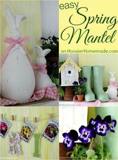 Easy Ideas to Brighten your Spring Mantel on HoosierHomemade.com