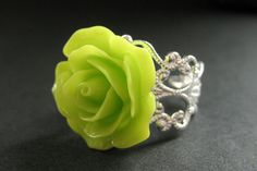 Hey, I found this really awesome Etsy listing at https://www.etsy.com/listing/114742591/lime-green-rose-ring-lime-flower-ring