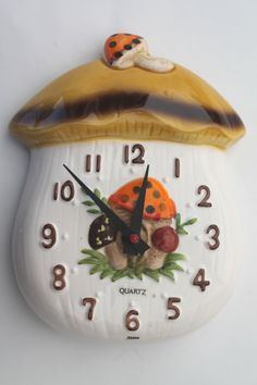 Retro Mushroom kitchen accessories | 70s vintage Merry Mushrooms lot Sears ceramic kitchen clock, canisters ...