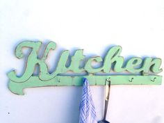 large 31 inc kitchen word sign, Wooden Key Hook Organizer, costal art sign, wooden word kitchen on Etsy, $65.00