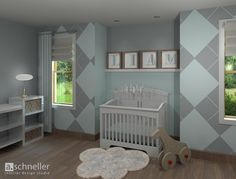 Argyle Nursery! Gray and Blue with white accents and white furniture