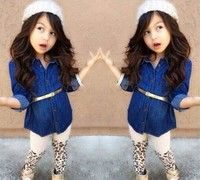 Hot Fashion Kids Girls Baby Denim Two-Piece Suit Outfits Tops Legging Pants 1~7T Size Code Shirt Le