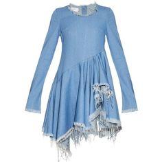 Marques'Almeida Frayed-edge long-sleeved denim dress (€545) ❤ liked on Polyvore featuring dresses, blue, frilly dress, long sleeve ruffle dress, ruffle dress, flutter dress y asymmetrical dress