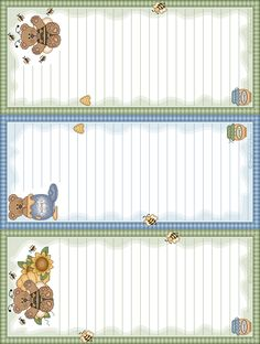 printable note pads 3 on a page bears and bees (many other designs) beels1.gif (638×845)