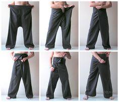 Thai Fisherman Pants Coffee Fishermen Trousers Wrap Pants