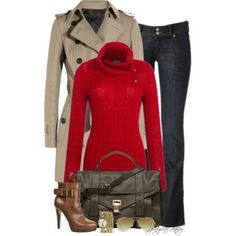 Untitled #618 - This red sweater is fantastic. Love the neckline.