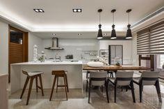 Manson Hsiao has designed this spacious apartment, its interior a perfect example of elegant, contemporary design. Luxury white kitchen. #Kitchen #Interior #House