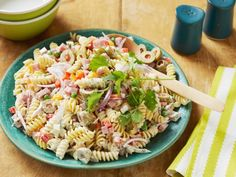 Get Creamy Latin Pasta Salad Recipe from Cooking Channel Picnic Side Dishes, Side Dishes For Bbq, Summer Side Dishes, Side Dish Recipes, Rice Recipes, Salad Dressing Recipes, Pasta Salad Recipes, Jicama Recipe, Grilling Recipes