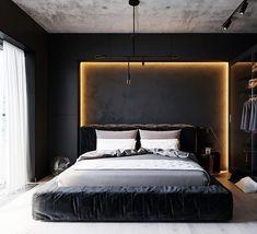 65 minimalist bedroom design ideas for simple people like you 4 Black Bedroom Design, Luxury Bedroom Design, Bedroom Bed Design, Bedroom Black, Home Room Design, Home Bedroom, Bedroom Decor, Interior Design, Master Bedroom