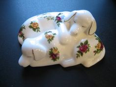 Vintage Royal Albert Old Country Roses Figure 2 Dogs Sleeping 1962 Mark by CLASSYBAG on Etsy
