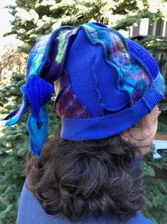 Elf Festival Fantasy Hat,Upcycled Sweaters, Needle Felted, Wool and Cashmere Patchwork in Jewel Tones. # H143