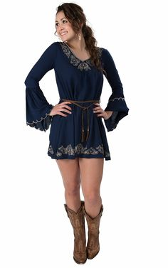 Double Zero® Women's Navy with Tan Embroidery with Leather Belt and Long Bell Sleeves Dress