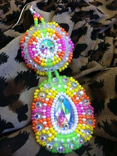 Native American Beaded Earrings- Neon Green, Pink,and Yellow Two Tier Beauties Beaded Earrings, Beaded Jewelry, Neon Jewelry, Jewlery, Native American Earrings, Native American Beadwork, Beads Pictures, Native Design, Nativity Crafts