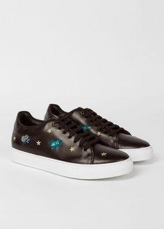 71cb88eefbf Men s Black Leather  Dreamer  Embroidered  Basso  Trainers Paul Smith Paul  Smith
