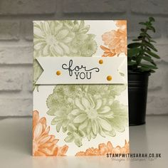Sarah Berry Stampin' Up! UK Demonstrator Quick and simple card using Heartfelt Blooms stamp set from Stampin' Up!