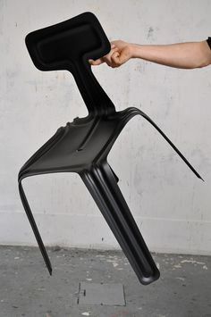Super minimalist and economical in material use, Harry Thaler has transformed a single sheet of aluminium into a stackable chair using a simple pressing technique that affords structural strength through the bends and folds to eliminate the need for fixings and fabrication. This culminates in a strong, yet incredibly lightweight three-dimensional form.