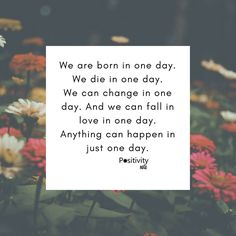 We are born in one day. We die in one day. We can change in one day. And we can fall in love in one day. Anything can happen in just one day. #positivitynote