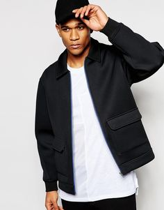 ASOS Neoprene Coach Jacket With Patch Pockets In Black