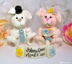 Bunny wedding cake topper with banner customizable by PerlillaPets