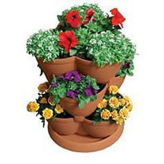 Imagine a home cascading with colorful flowers, tasty herbs or succulent strawberries with a multi-tiered planterMedium Stack-A-Pot is perfect for a deck, patio, porch, or indoorsPlanter makes a perfect gift for gardeners