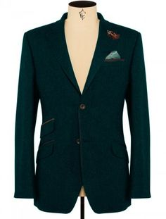 Ted Baker Blazer in Green Wool Tailored Fit